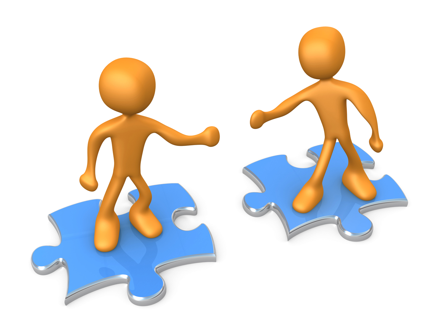 Royalty-free 3d business clipart picture of two orange people on blue puzzle pieces, reaching out for eachother to connect, symbolizing a connection, link exchange and teamwork.